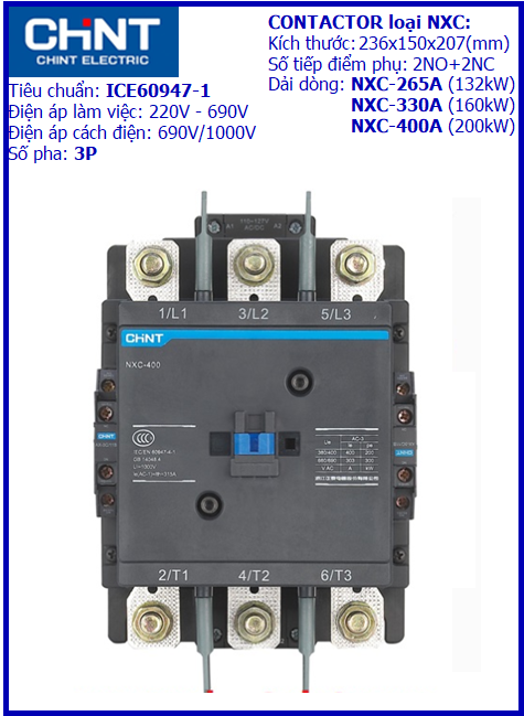 CONTACTOR NXC 3P-400A