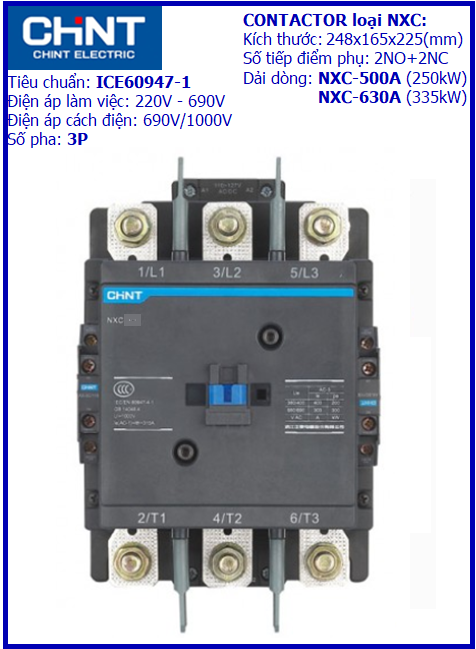 CONTACTOR NXC 3P-500A
